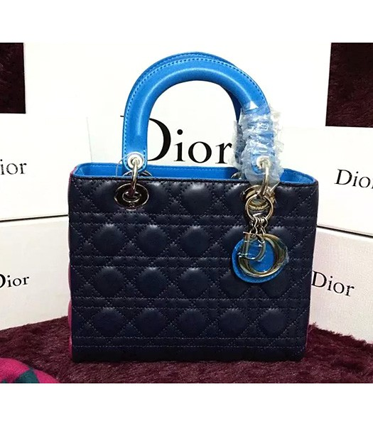 Christian Dior Lambskin Leather 24cm Tote Bag Dark Blue/Rose Red