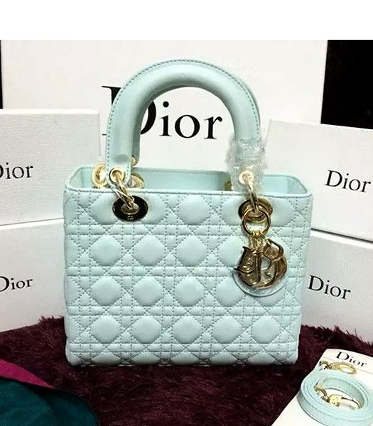 Christian Dior Lambskin Leather 24cm Tote Bag Light Green