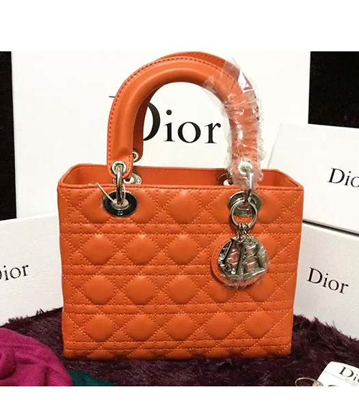 Christian Dior Lambskin Leather 24cm Tote Bag Orange Silver Metal