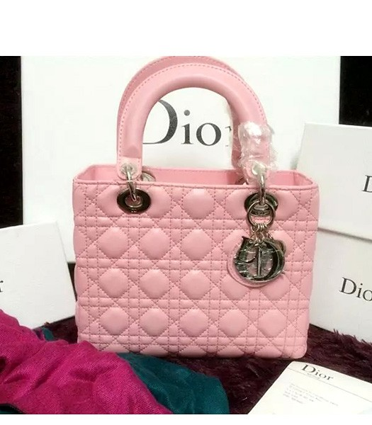 Christian Dior Lambskin Leather 24cm Tote Bag Pink