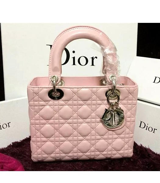 Christian Dior Lambskin Leather 24cm Tote Bag Pink Silver Metal