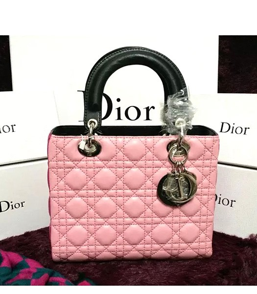 Christian Dior Lambskin Leather 24cm Tote Bag Pink/Peach Red/Black