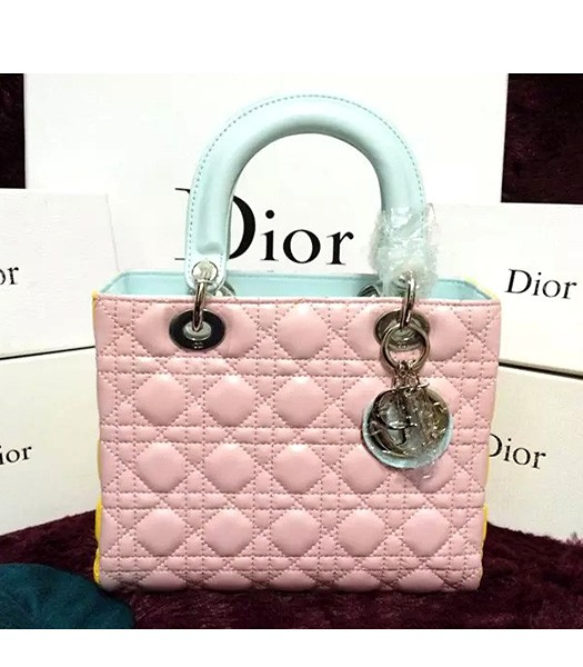 Christian Dior Lambskin Leather 24cm Tote Bag Pink/Yellow/Green