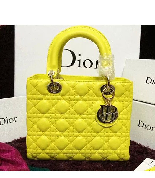 Christian Dior Lambskin Leather 24cm Tote Bag Yellow