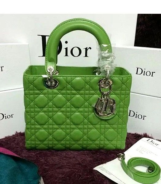 Christian Dior Lambskin Leather 24cm Tote Bag Dark Green Silver Metal