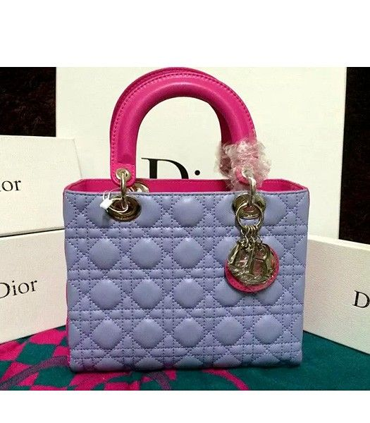 Christian Dior Lambskin Leather 24cm Tote Bag Light Purple/Peach Red
