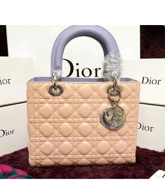 Christian Dior Lambskin Leather 24cm Tote Bag Pink/Light Purple