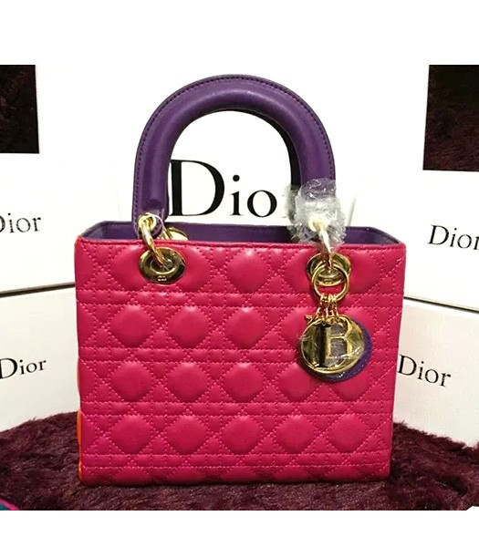 Christian Dior Lambskin Leather 24cm Tote Bag Rose Red/Orange/Purple