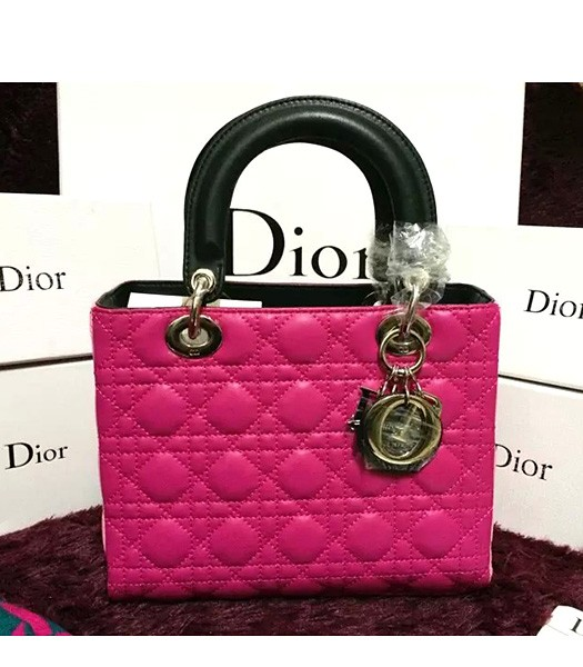 Christian Dior Lambskin Leather 24cm Tote Bag Pink/Rose Red/Black