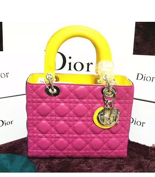 Christian Dior Lambskin Leather 24cm Tote Bag Black/Rose Red/Yellow