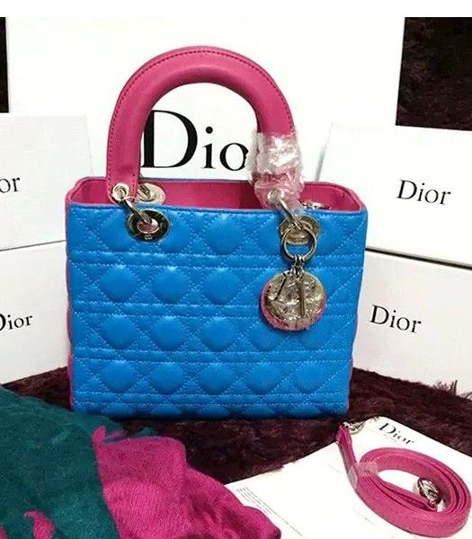 Christian Dior Lambskin Leather 24cm Tote Bag Peach Red/Blue