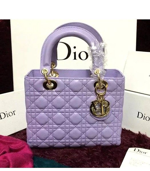 Christian Dior Lambskin Leather 24cm Tote Bag Light Purple