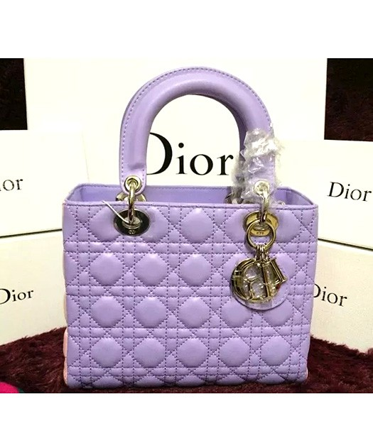 Christian Dior Lambskin Leather 24cm Tote Bag Light Purple/Pink