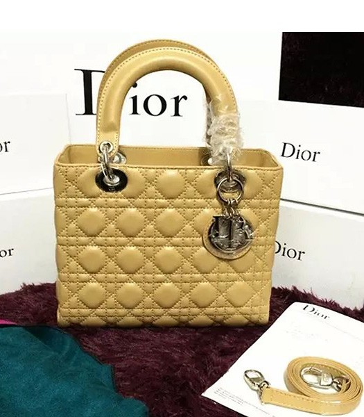 Christian Dior Lambskin Leather 24cm Tote Bag Apricot Silver Metal