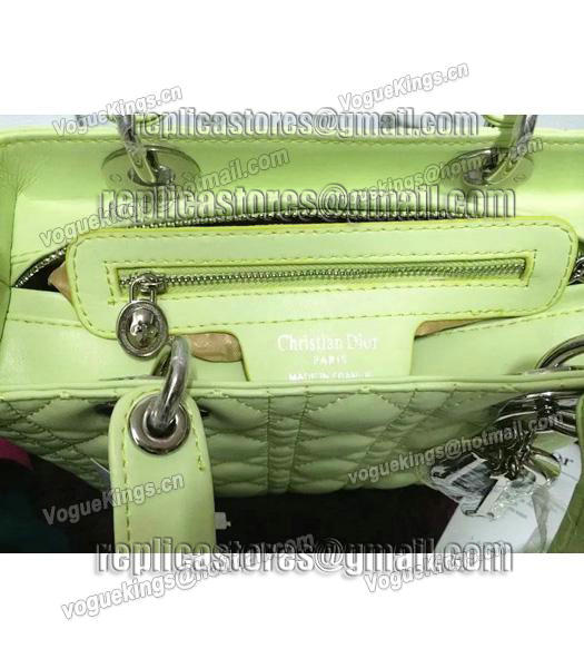 Christian Dior Lambskin Leather 24cm Tote Bag Lucifer Green Silver Metal-3