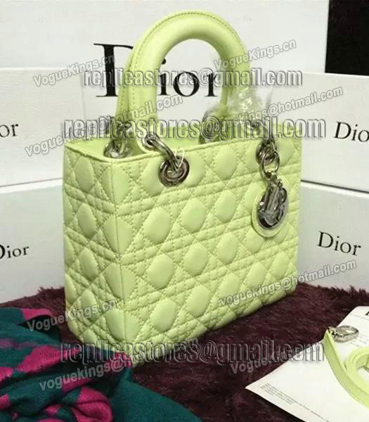 Christian Dior Lambskin Leather 24cm Tote Bag Lucifer Green Silver Metal-4