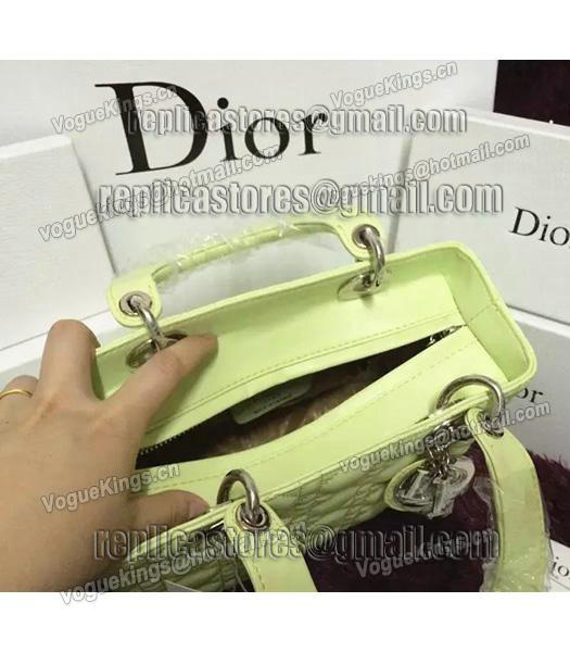 Christian Dior Lambskin Leather 24cm Tote Bag Lucifer Green Silver Metal-5
