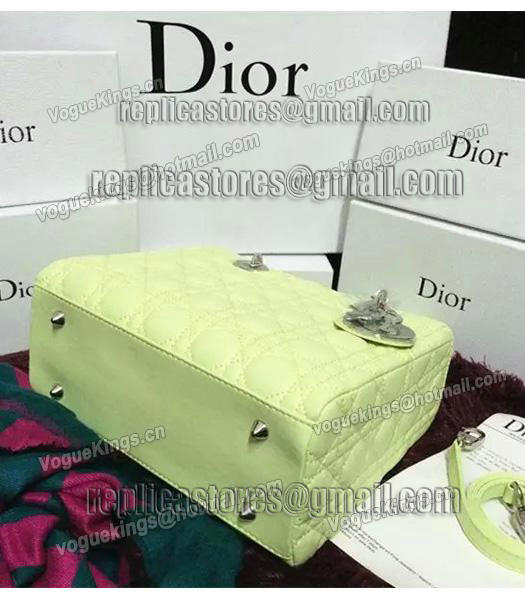 Christian Dior Lambskin Leather 24cm Tote Bag Lucifer Green Silver Metal-6