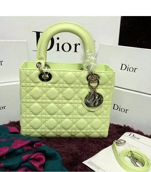 Christian Dior Lambskin Leather 24cm Tote Bag Lucifer Green Silver Metal
