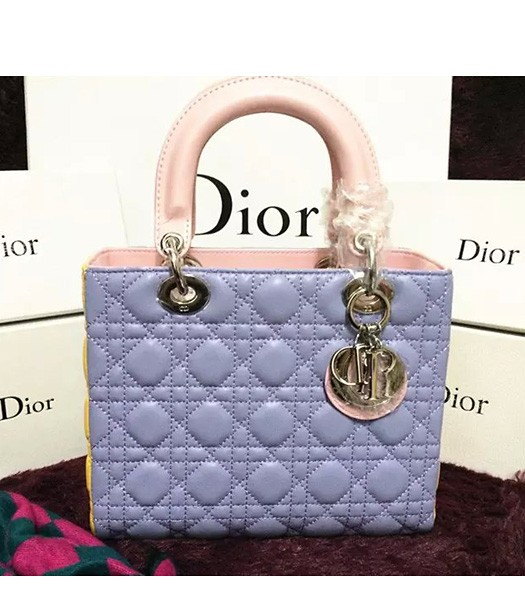 Christian Dior Lambskin Leather 24cm Tote Bag Yellow/Light Purple/Pink