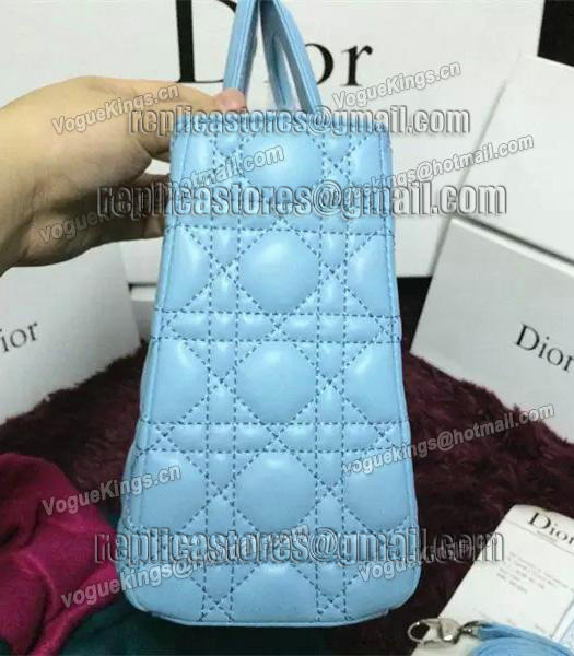 Christian Dior Lambskin Leather 24cm Tote Bag Ice Blue Silver Metal-1