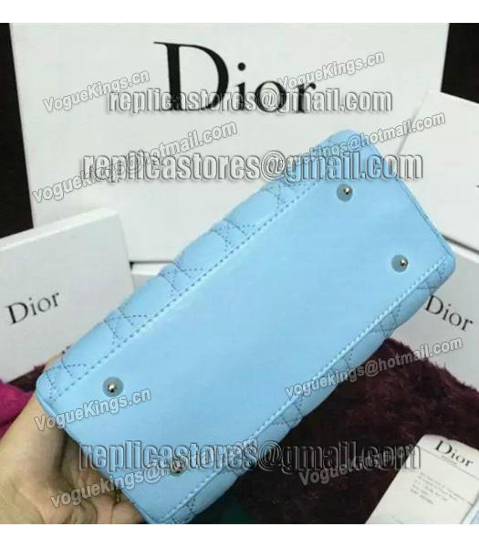 Christian Dior Lambskin Leather 24cm Tote Bag Ice Blue Silver Metal-2