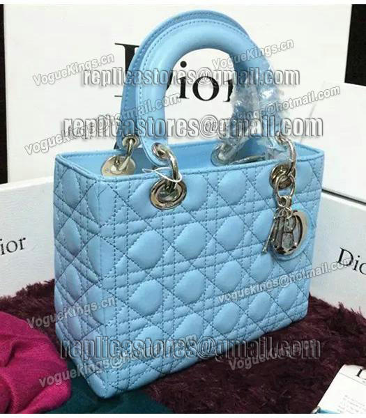 Christian Dior Lambskin Leather 24cm Tote Bag Ice Blue Silver Metal-7