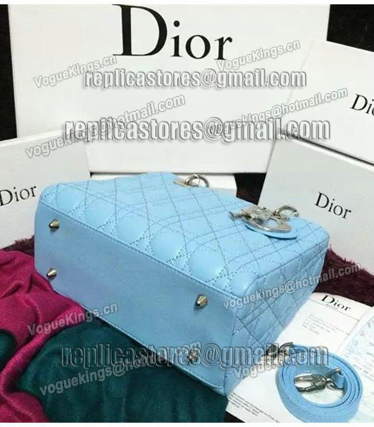 Christian Dior Lambskin Leather 24cm Tote Bag Ice Blue Silver Metal-8