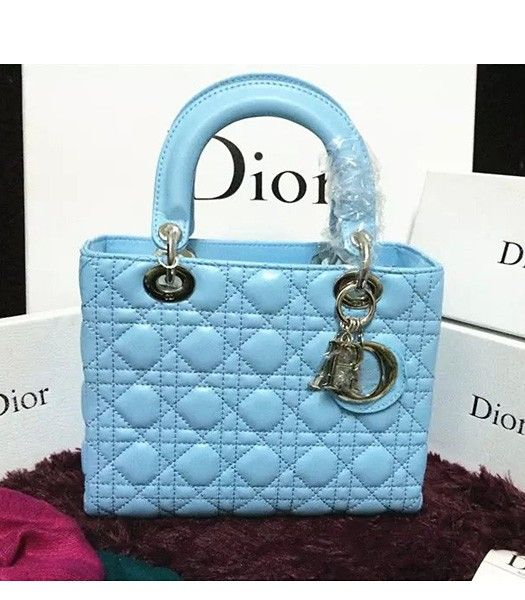 Christian Dior Lambskin Leather 24cm Tote Bag Ice Blue Silver Metal