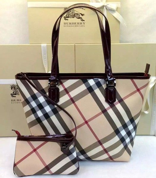Burberry 1529 Check Canvas With Patent Leather Tote Bag Chocolate Color