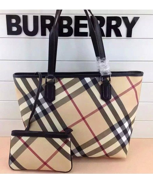 Burberry 1529 Check Canvas With Chocolate Color Leather Tote Bag