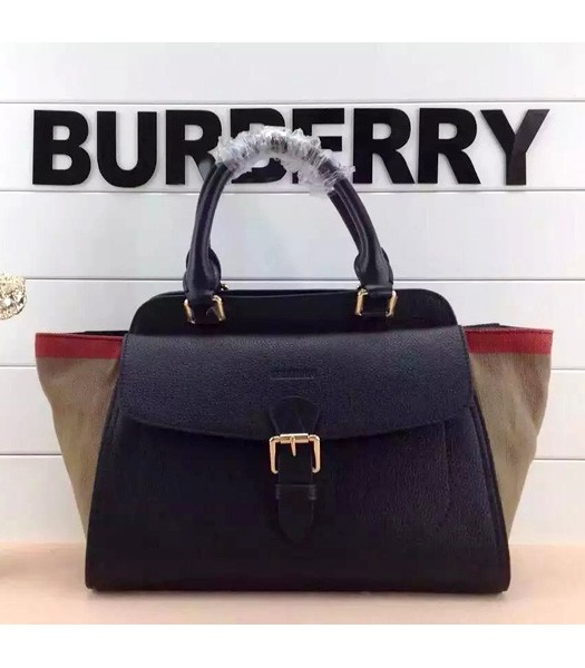 Burberry Check New Style Linen With Leather Tote Bag Black