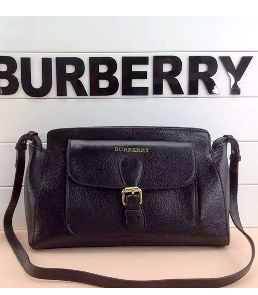 Burberry The Saddle Bag Calfskin Leather Crossbody Bag In Black