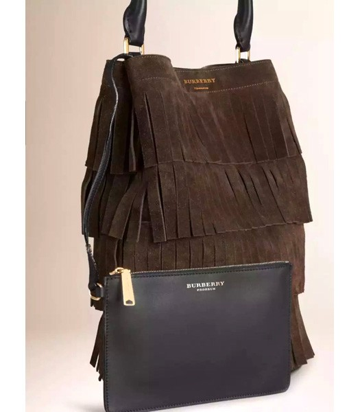Burberry Decorative Tassels Suede Leather Tote Bag Coffee