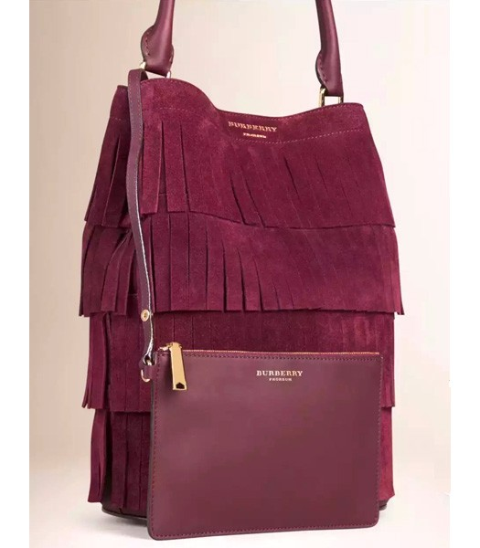 Burberry Decorative Tassels Suede Leather Tote Bag Wine Red