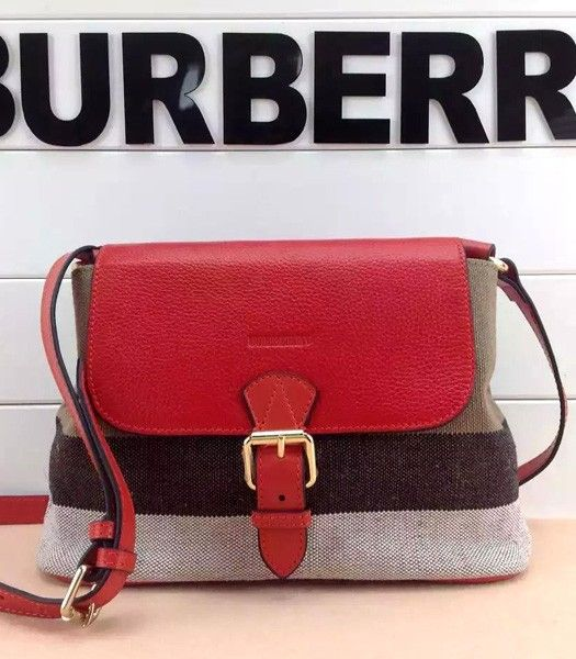 Burberry Check Linen With Leather Flap Shoulder Bag Red