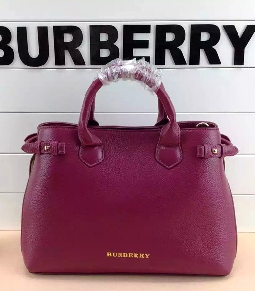 Burberry House Check Cotton With Purple Red Leather Tote Bag