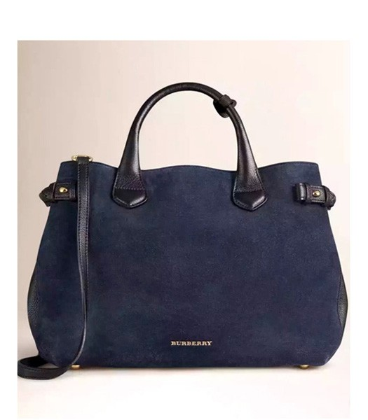 Burberry House Check Suede Leather Tote Bag Sapphire Blue/Black