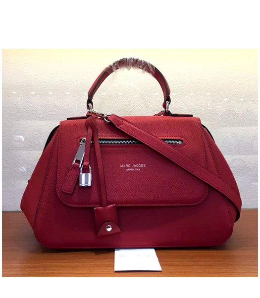 Marc Jacobs Litchi Veins Leather Flap Tote Bag In Red