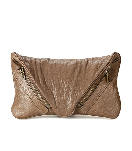 Alexander Wang Bubble Clutch 49966 Khaki Lambskin Leather