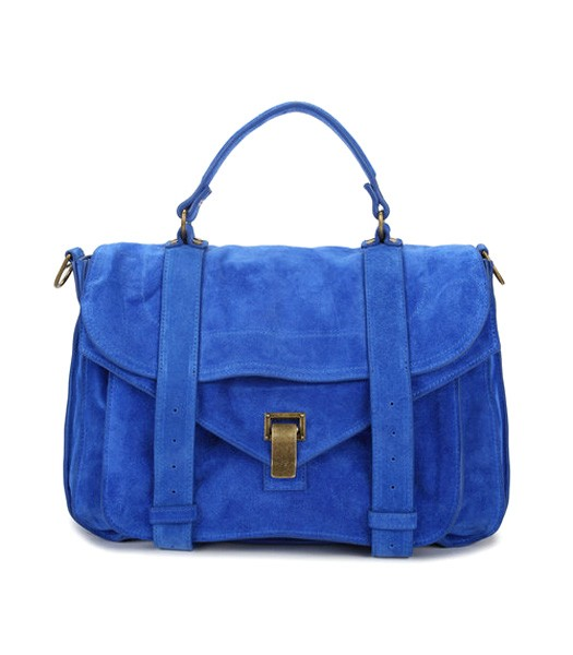 Proenza Schouler PS1 Small Satchel Bag Blue Suede Leather