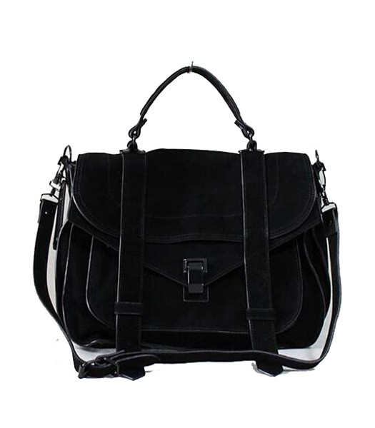 Proenza Schouler PS1 Small Satchel Bag Suede Leather Black