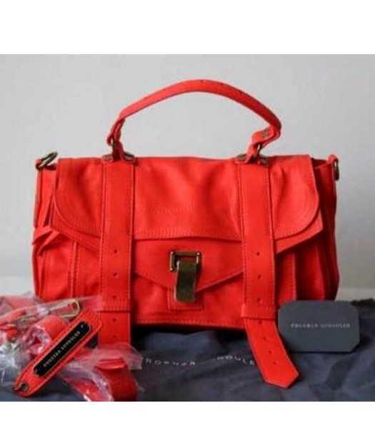 Proenza Schouler PS1 Medium Satchel Bag Lambskin Leather Red