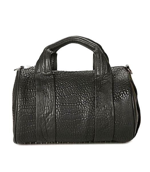 Alexander Wang 24828 Coco Duffle Bag Black Leather Silver Nail