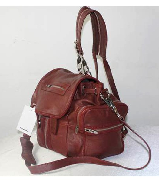 Alexander Wang 49939 Marty Nubuck Effect Backpack In Jujube Red