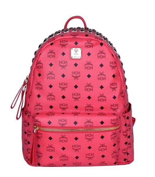 MCM Stark 3 Rows Studs Studded Medium Backpack Watermelon Red Leather