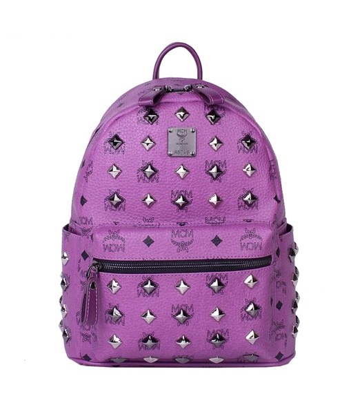 MCM Stark All Over Studs Leather Small Backpack Purple