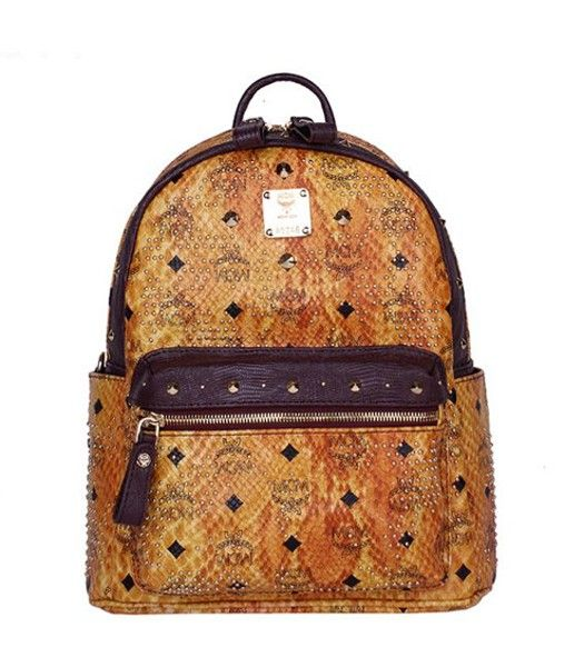 MCM Rivets Snakeskin Studded Leather Small Backpack In Red Golden