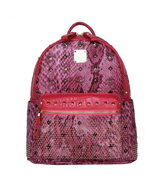 MCM Rivets Snakeskin Studded Leather Small Backpack In Red
