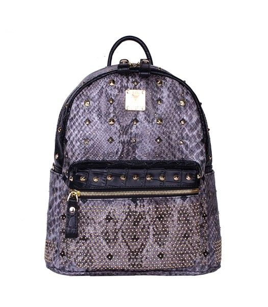 MCM Rivets Snakeskin Studded Leather Small Backpack In Grey